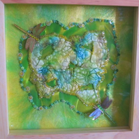 Green Dragonflies. Mixed media, textiles in wooden 3D Box Frame