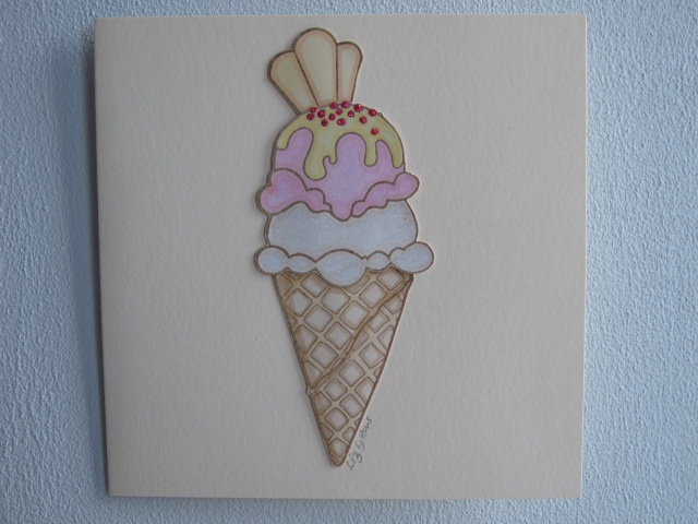 Raspberry and Vanilla Ice Cream Cone Card