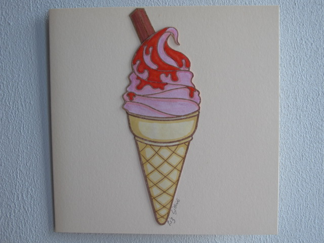 Strawberry Swirl Decoupaged Ice Cream Cone Card