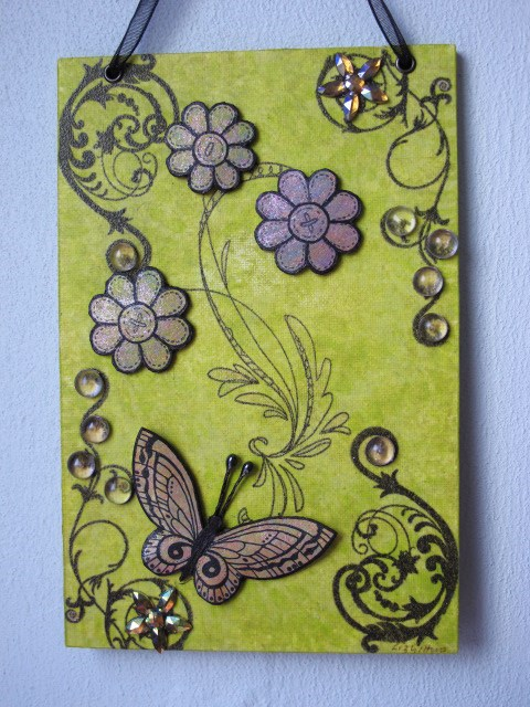 3D Decoupaged Butterfly Wall Hanging on Canvas Board
