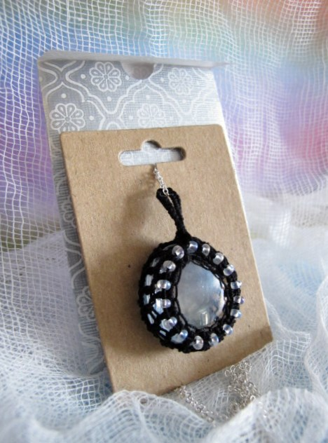 Black Crochet and Clear Glass Pendant.
