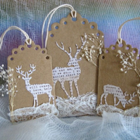 Set of 3 Kraft Deer Gift Tags