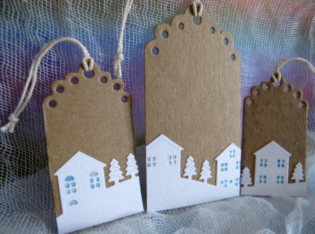 Set of 3 Kraft Christmas Village Gift Tags