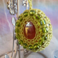 Crochet and Glass Keyring