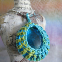 Crochet Cotton and Glass Pendant, Turquoise and lime green