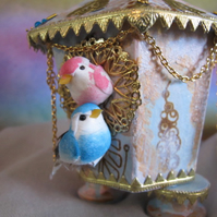 Golden Decorative Bird House