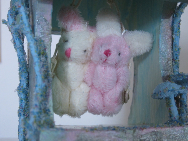 Altered Bird House with Swinging Easter Bunnies.