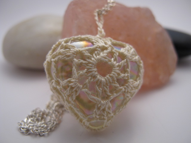 Vintage Crochet Cotton and Glass Heart Pendant (Ivory), Necklace, Valentine