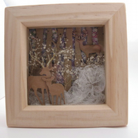 Christmas Deer in Woodland Wooden Box Frame