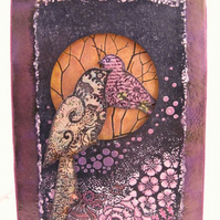 Autumn Wallhanging with Birds in Shades of Plum and Gold