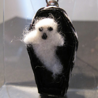 Friendly Halloween Ghost in Coffin, Bag Charm.