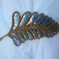 Autumn Leaf Brooch (d) Iridescent Film and Kraft Card.