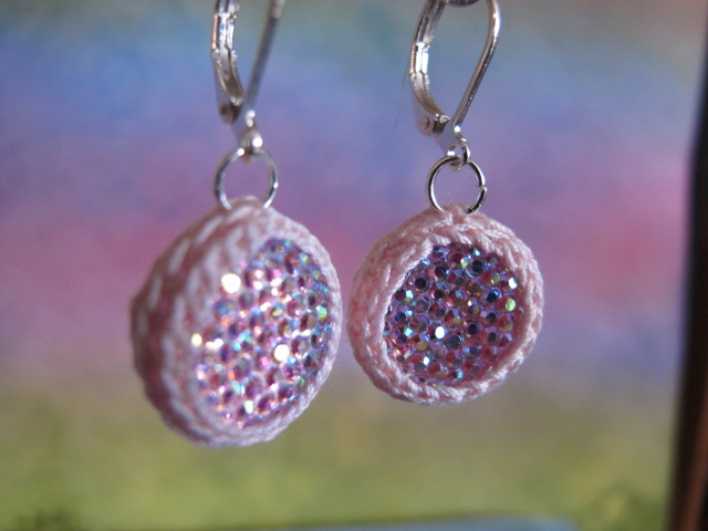 Sparkling Crochet Earrings (Pink)