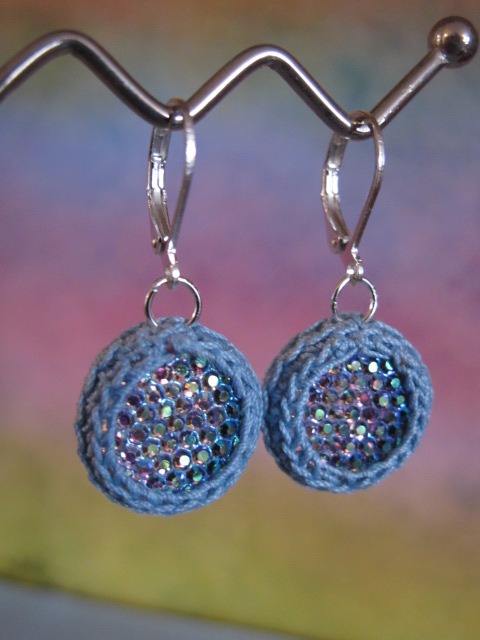 Sparkling Crochet Earrings (Blue)