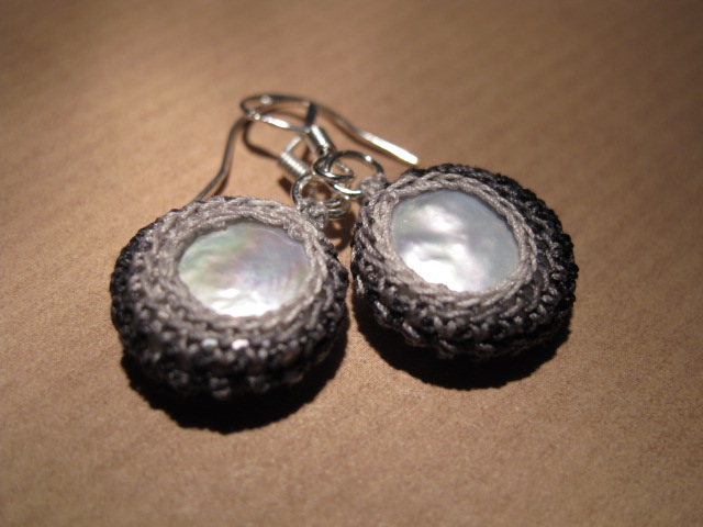 Keshi Pearl and Vintage Crochet Cotton Earrings (Grey)