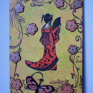 Oriental Lady with Butterfly and Flowers