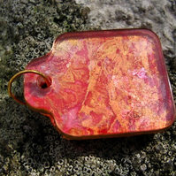 Square Tag Acrylic Pendant, Necklace Red, Copper and Gold