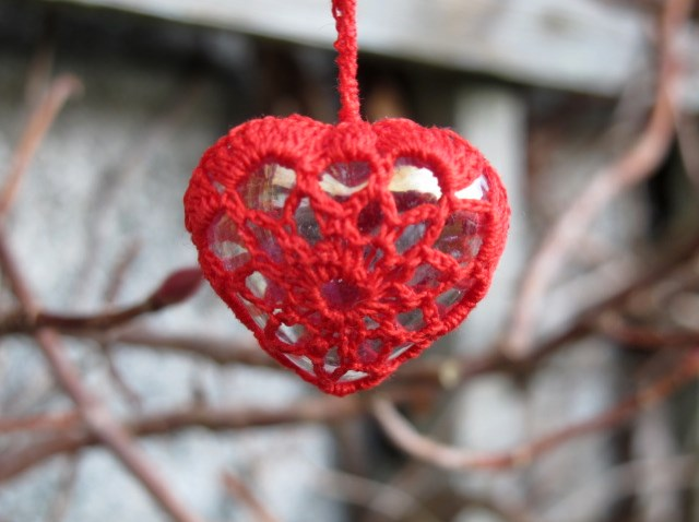 Vintage Red Crochet Cotton, Iridescent Glass Heart Pendant, Necklace, Valentine