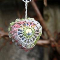 Pink, Green and Ivory Vintage Crochet Cotton and Glass Heart Pendant, Necklace