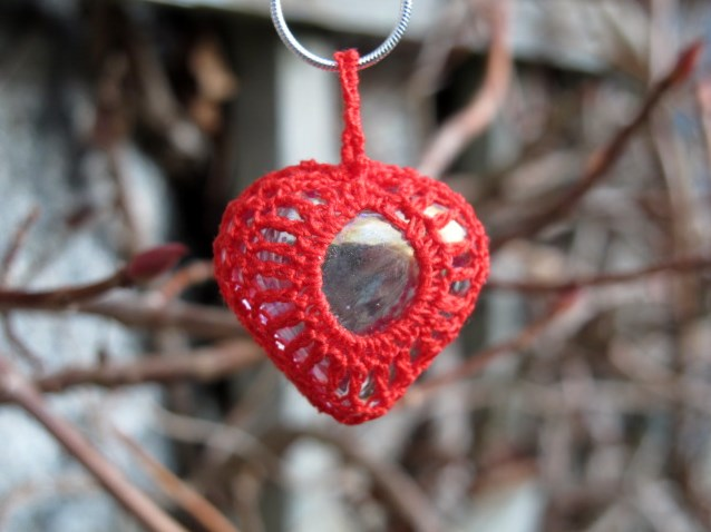 Red Crochet Heart Pendant, Necklace, Valentine