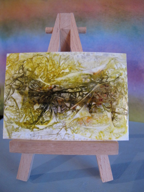Green and Gold Abstract Dragonfly ACEO