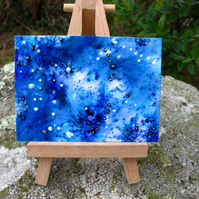 Starry Skies ACEO in Shades of Indigo, Blue and Purple. Limited Edition 5 of 8