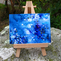 Starry Skies ACEO in Shades of Indigo, Blue and Purple. Limited Edition 6 of 8