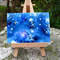 Starry Skies ACEO in Shades of Indigo, Blue and Purple. Limited Edition 7 of 8