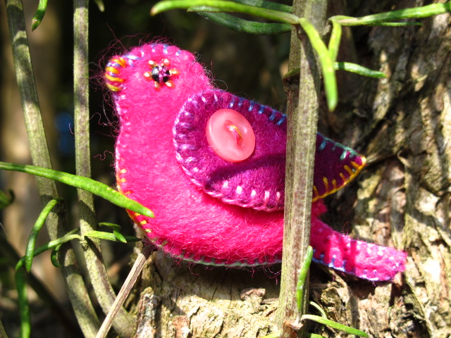 Bird Brooch, Bright Pink and Purple Felt
