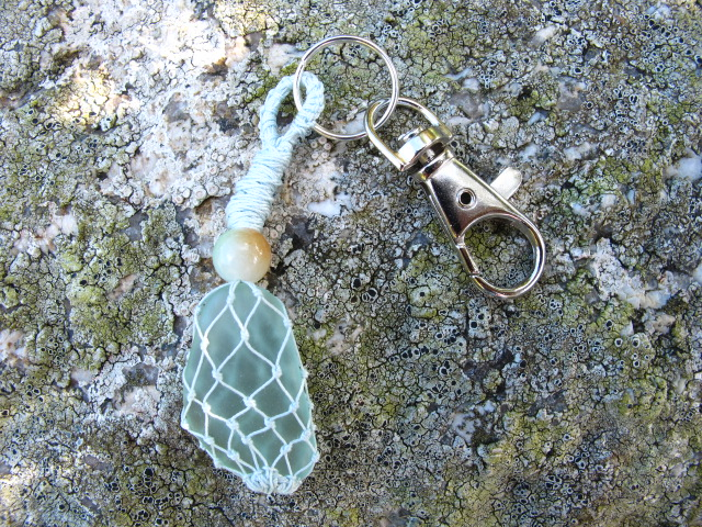 Beach Glass and Pale Blue Macrame Handbag Charm or Keyring