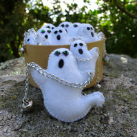 Halloween Ghost Bag Charm, Keyring