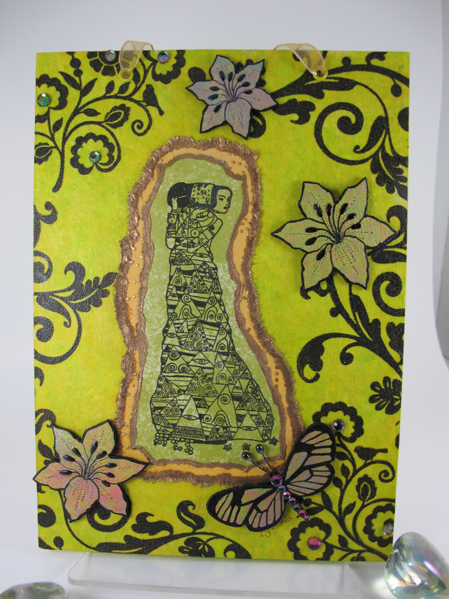 Klimt Inspired Mixed Media Canvas Board