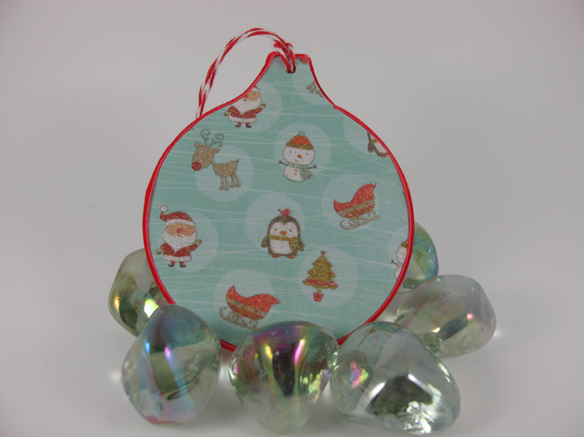 Set of Three Tree Decorations. Colourful, Cute Christmas Designs. Free P and P