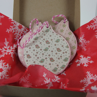 Boxed of 3 Tree Decorations, Shades of Pink. Gift Wrapping and P and P included.