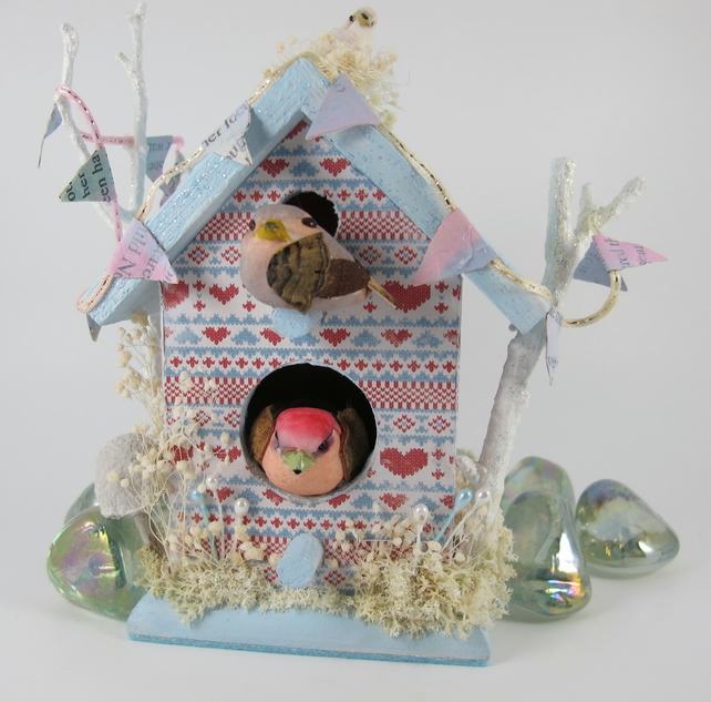 Scandi Style Decorated Bird House.