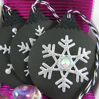 Black and Silver Christmas Decorations with Snowflake Design
