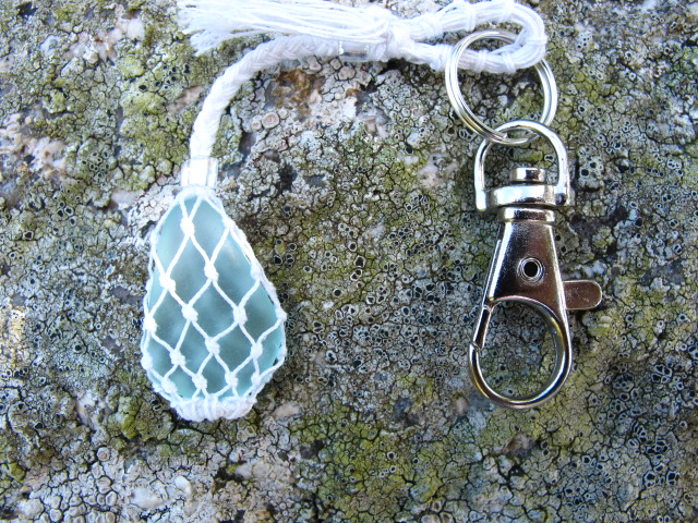 Micro Macrame and Beach Glass Bag Charm or Keyring
