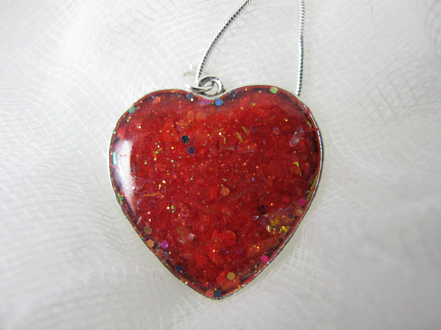 Ruby Red Resin Heart Pendant, Necklace, Valentine's Day Gift