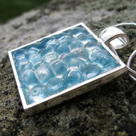 Square Aqua, Pale Turquoise Textured, Glazed Pendant, Necklace