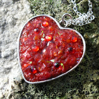 Red Textured Resin Heart Pendant, Necklace, Valentine