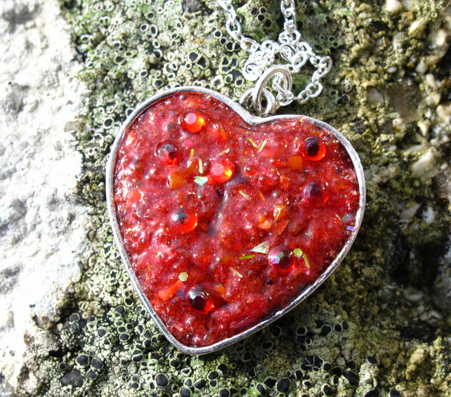 Red Textured Resin Heart Pendant, Necklace