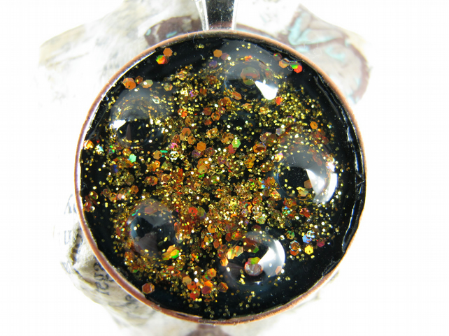 Black Glittery Galaxy Resin Pendant, Round
