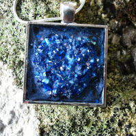 Square Blue Pendant, Necklace, Faux Druzy, Crystal, Gemstone. (a)