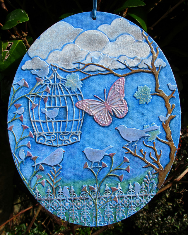 Garden Birds with Birdcage and Butterfly, 3D Art