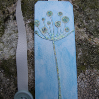 Fantasy Flower Bookmark, Shades of Blue and Silver