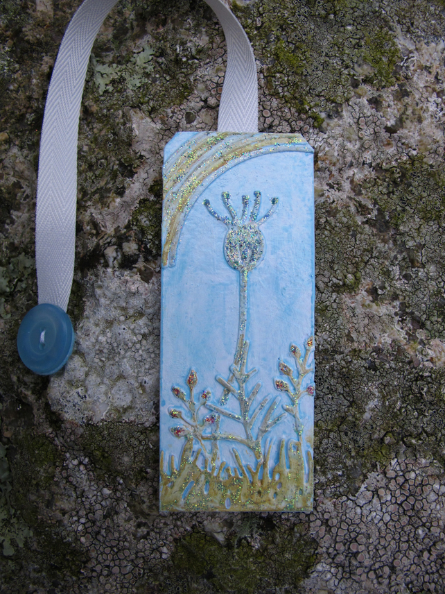 Bookmark with Flower Seed Head and Rainbow