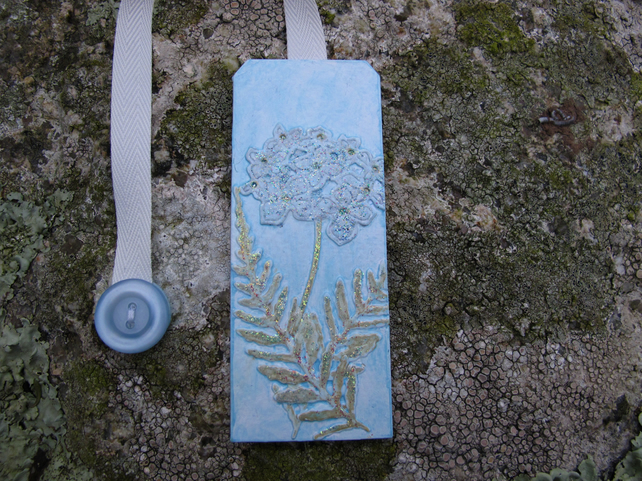 Bookmark with Flower and Fern Design