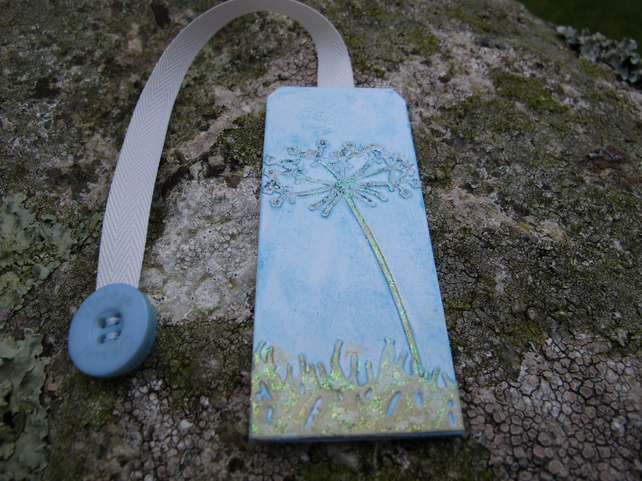 Wildflower Bookmark in shades of Blue, Silver and Gold