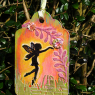 Garden Fairy at Sunset, Decorative Wooden Tag