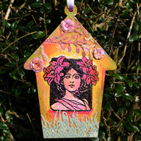 Mixed Media Art Nouveau Tag, Painted MDF